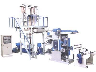 PE film blowing machine and online flexographic printer